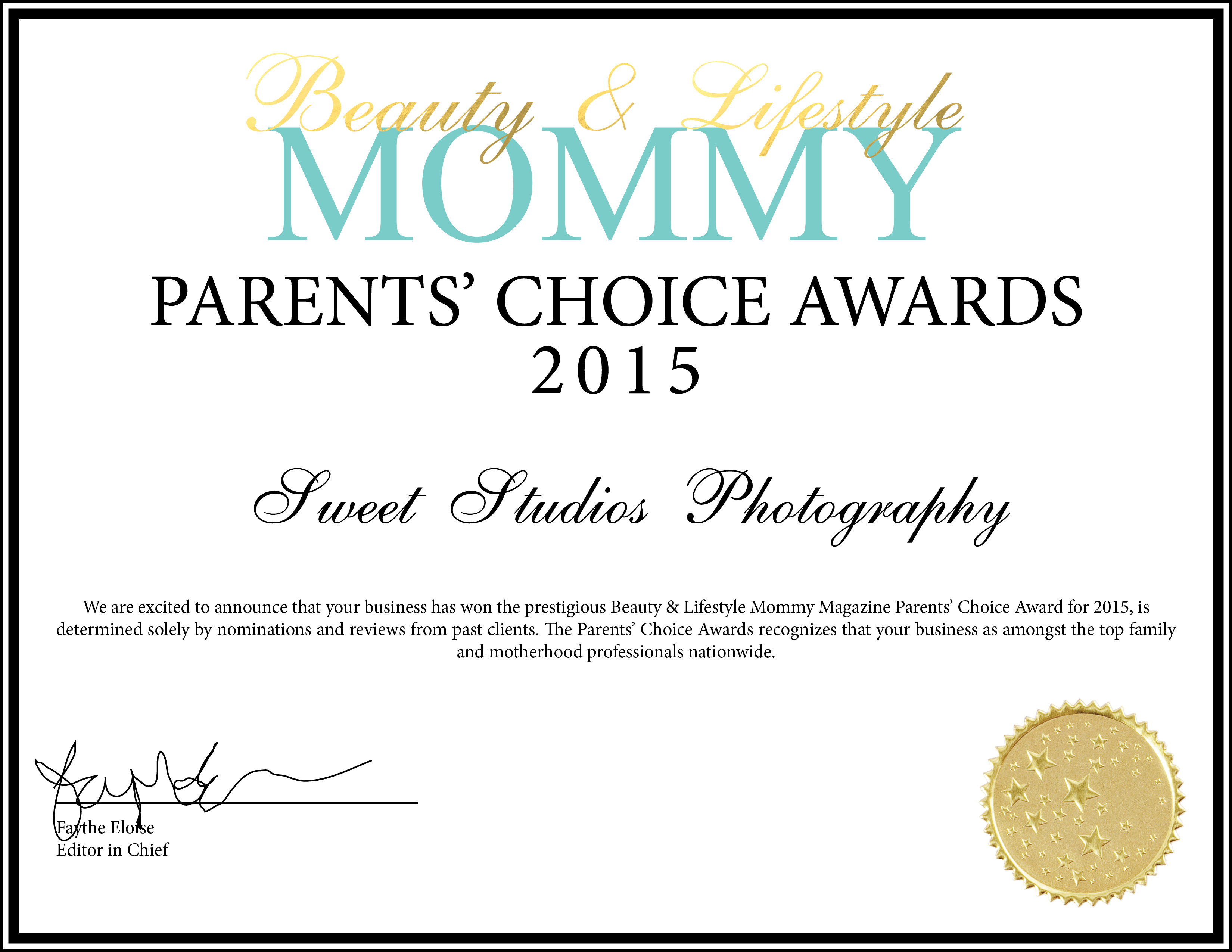 Beauty and Lifestyle Parent's Choice Award